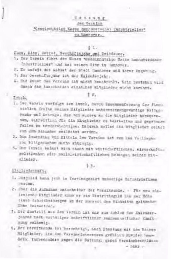 """Auszug aus der Satzung des Vereins """"Gemeinnützige Kasse hannoverscher Industrieller"""""""